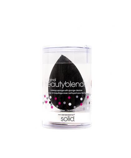 Спонж для тональной основы и мини мыло для очистки Solid Blendercleanser черный